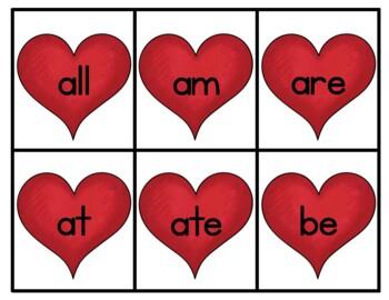 Valentine's Day Sight Word Match: Dolch Kindergarten Sight Words