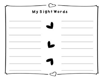Valentine Sight Word Puzzle