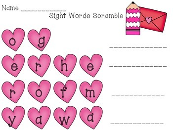 Valentine Sight Words Scramble