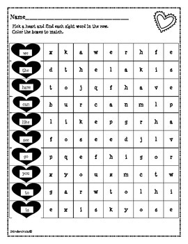 Valentine Sight Word Search