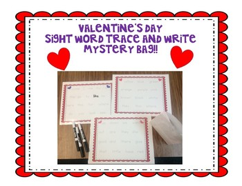 Valentine Sight Word Trace and Write