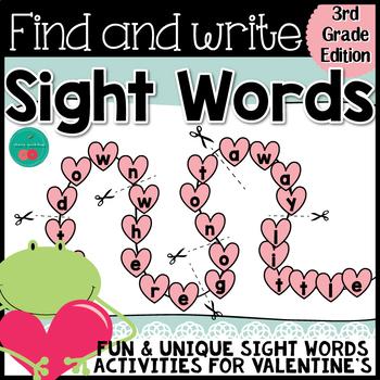 Valentine's Day Sight Words {THIRD GRADE}  {Print & Go} or