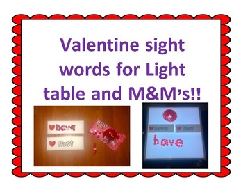 Valentine Sight Words for M&M's and Light Table