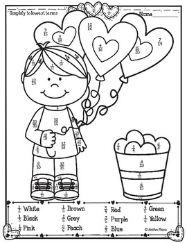 Simplifying Fractions Coloring Worksheets & Teaching ...