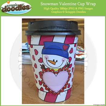 Valentine Snowman Cup Wrap Printable Craft - FREEbie