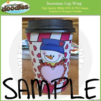 Valentine Snowman Cup Wraps Printable Craft