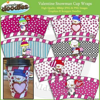 Valentine Snowman Cup Wraps Printable Craft