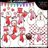 Valentine Snowmen Clip Art - Valentine's Day Clip Art