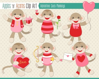 Valentine Sock Monkeys Clip Art - color and outlines