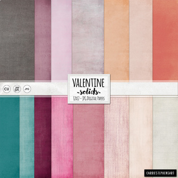 Valentine Solid Digital Papers - Lightly Textured Backgrounds - Pink & Red