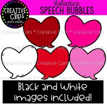 Valentine Speech Bubbles: Valentine Clipart {Creative Clips Clipart}