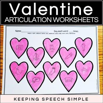 Valentine Speech No Prep Articulation Worksheets