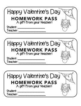 """Valentine"" Spider - Homework Pass –Holiday FUN! (color & black line version)"