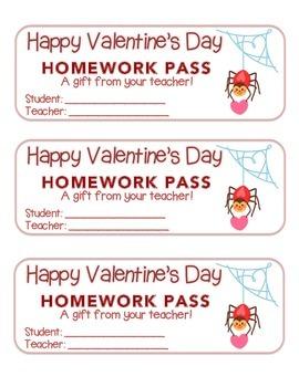 """Valentine"" Spider - Homework Pass – Holiday FUN! (color &"