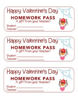 """Valentine"" Spider - Homework Pass – Holiday FUN! (full color version)"
