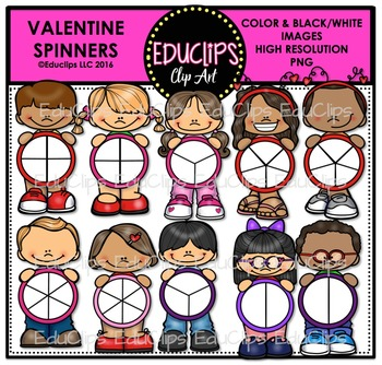 Valentine Spinners Clip Art Bundle {Educlips Clipart}