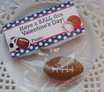 Valentine Sports Balls Large Treat Bag Toppers