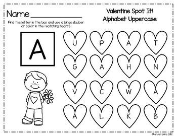 Valentine Spot It Alphabet Uppercase