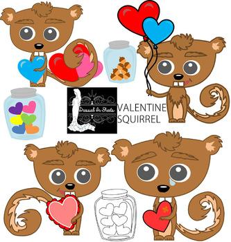 Valentine Squirrel Clip Art