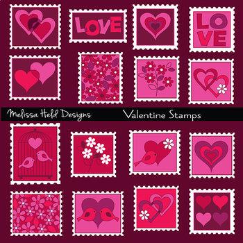 Clipart: Valentine Stamp Clip Art