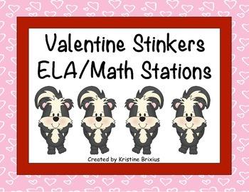 Valentine Stinkers ELA and Math Stations
