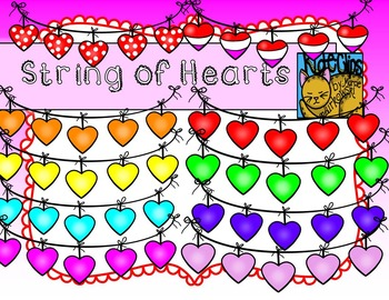 Valentine String of Hearts Page Dividers Clip Art Kid-E-Clips Comm Personal Use