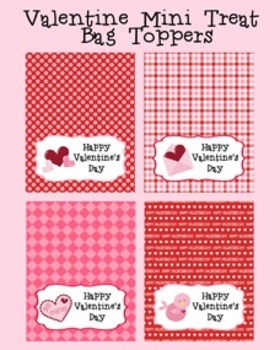 Valentine Student Classroom Party Mini Treat Bag Toppers