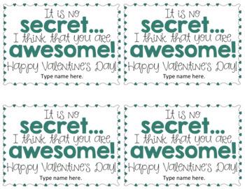 Valentine Student Gift Tag *FREEBIE*