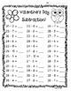 Valentine Subtraction Math Practice - 3 Leveled Worksheets