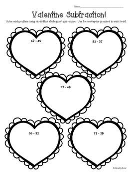 Valentine Subtraction! Math Practice Worksheet