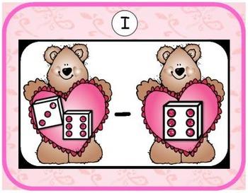 Valentine Subtraction {Subitizing with Dice}