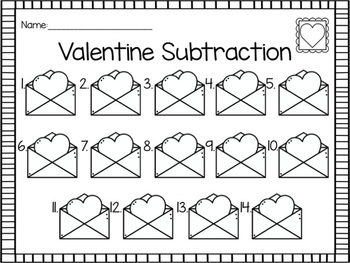 Valentine Subtraction Write the Room