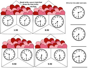 Valentine Subtraction with Regrouping and Clocks to the Half Hour
