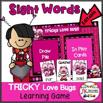 Sight Word Game - Tricky Love Bugs! {EDITABLE}