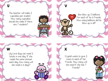 Valentine's Day Multiplication Word Problems