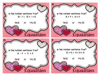 Valentine Sweet Shop Equality Task Cards