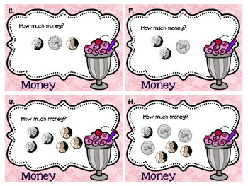 Valentine Sweet Shop Money Task Cards- Coins