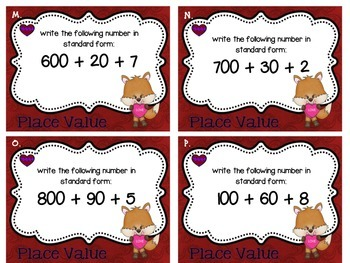 Valentine Sweet Shop Place Value Task Cards