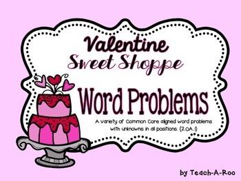 Valentine Sweet Shop Word Problem Task Cards