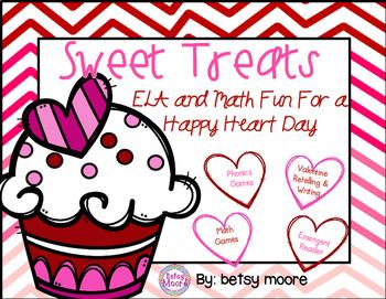 Valentine Sweet Treats ELA & Math Games, Writing, Emergent Reader