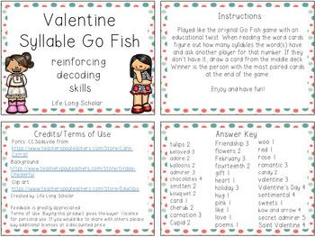 Valentine Vocabulary Syllable Go Fish