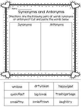 Valentine Synonym and Antonym Freebie