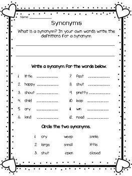 Valentine Synonym and Antonym Freebie