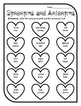 Valentine Synonyms and Antonyms Valentines Grammar Worksheet Valentines Synonyms