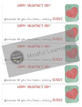 Valentine Tags: Clicker Pens, Clicker Pencils (Watercolor)