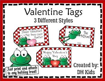 Valentine Tags - Frog Tags - Treat Bag Tags