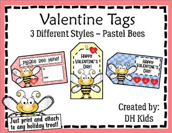 Valentine Tags - Pastel Bee Tags - Treat Bag Tags