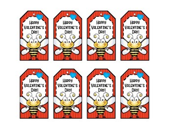 Valentine Tags - Bee Tags - Treat Bag Tags