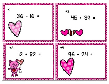 Valentine Task Cards - Addition & Subtraction