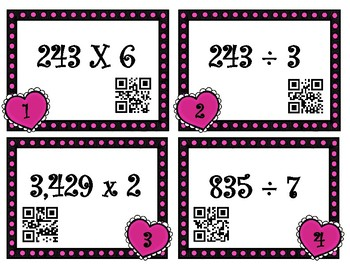 Valentine Task Cards Multiplication and Division